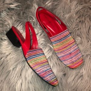 Vtg 90s slingback sandals colorful rainbow 7.5